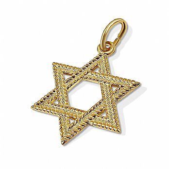 14K Star of David Pendant - Rope Style