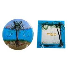 Fused Glass Seder Set - Tree of Life