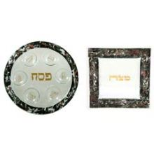 Fused Glass Seder Set - Marbled Black / Tomato