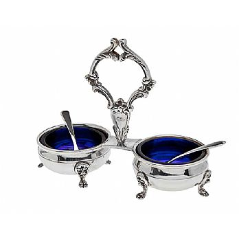 Silver Plated Twin Salt and Pepper Dish & Spoons with Cobalt Liners
