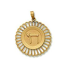 14K Gold Fancy Chai Medallion