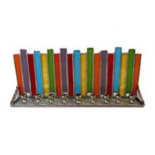 Metal and Stained Glass Menorah - Hanukkah Candles