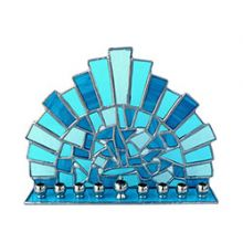Metal and Stained Glass Menorah - Blue Mosaics