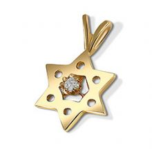 14K Gold Star of David with Diamond