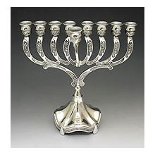 Silver or Pewter Plated Traditional Menorah