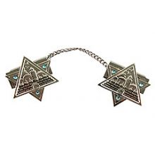 Metal Star of David Tallit Clips - Jerusalem