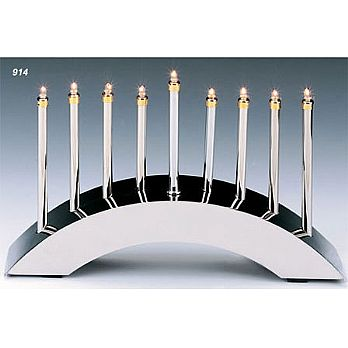 Designer Silver Plated Electric Menorah - Low Voltage Bulbs