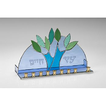 Art Glass & Metal Menorah - Tree of Life II
