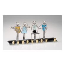 Art Glass & Metal Menorah - Musical Kids