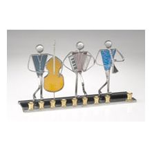 Art Glass & Metal Menorah - Klezmer Trio Menorah