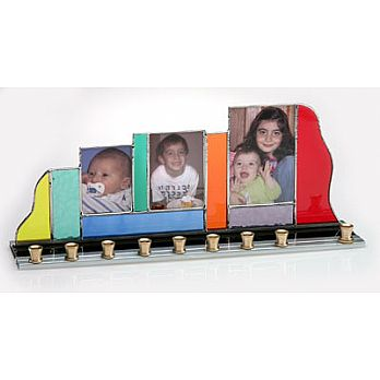Art Glass & Metal Menorah - Family Picture Menorah