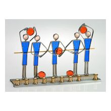 Art Glass & Metal Menorah - Basket Ball