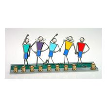 Art Glass & Metal Menorah - Friends at Play Menorah