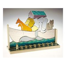 Art Glass & Metal Menorah - Noah's Ark Menorah