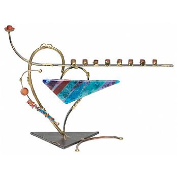 Gary Rosenthal Art Menorah - Hearts