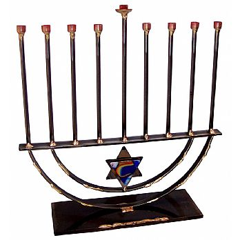 Large Metal and Fused Glass Rod Menorah By Gary Rosenthal