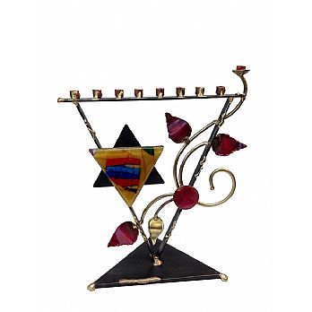 Metal and Fused Glass Menorah By Gary Rosenthal - Triangle Tree of Life