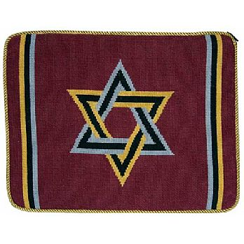 Preassembled Needlepoint Tallit Bag - Maroon Star