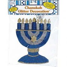 Hanukkah Glittered Menorah Decoration - Wall or Window