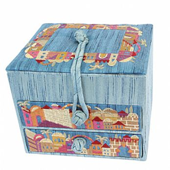 Embroidered Jewelry Boxes - Jerusalem Blue