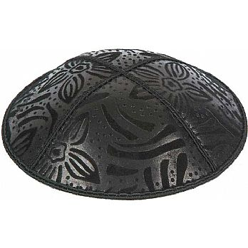Embossed Suede Kippot - Large Flowers