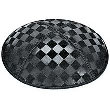 Embossed Suede Kippot - Checkerboard