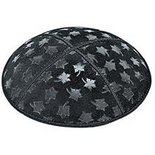 Embossed Suede Kippot - Leaves