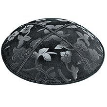 Embossed Suede Kippot - Flowers