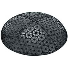 Embossed Suede Kippot - Stars in Balls