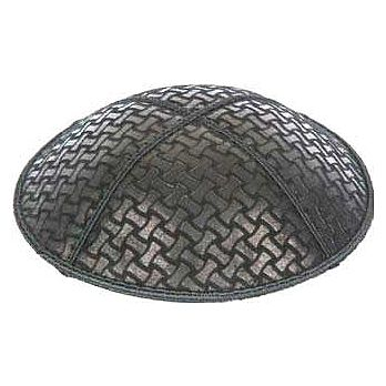 Embossed Suede Kippot - Chain Link
