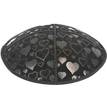 Embossed Suede Kippot - Hearts