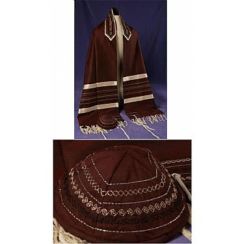 Soft Cotton Luxurious Tallit Set - Burgundy with Cream Stripes