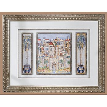 Large Framed Art Judaica - Blue Jerusalem - Studio Collection