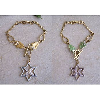 Leaf Star of David Bracelet - Gold Plated