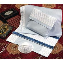 Soft Cotton Luxurious Tallit Set - Blue Stripes on Baby Blue
