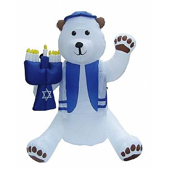 Blowup Lawn Airblown Inflatable Bear Holding Menorah - 6' Tall