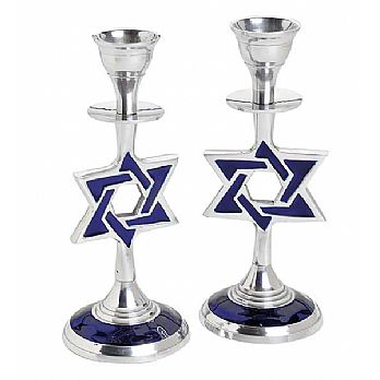 Aluminum Enameled Star of David Candlesticks