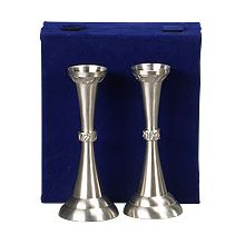 Elegant Pewter Candlesticks - In Velvet Box