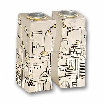 Silverplated Jerusalem Candlesticks