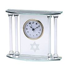 Glass Display Hebrew Desk Clocks