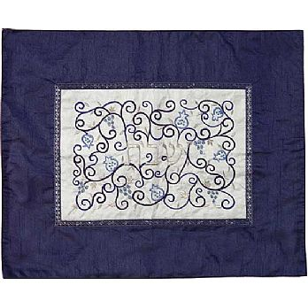 Embroidered Raw Silk Challah Cover by Emanuel - Blue