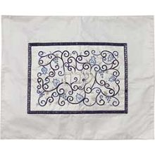 Embroidered Raw Silk Challah Cover by Emanuel - White