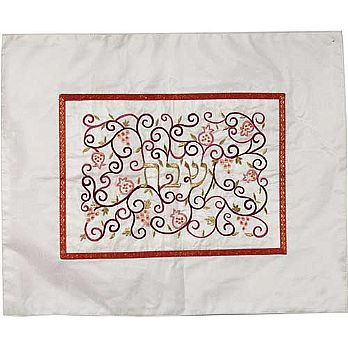 Embroidered Raw Silk Challah Cover by Emanuel - White with Color