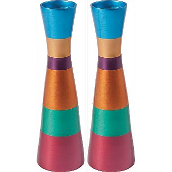 Modern Aluminum Candlestick Set by Emanuel - Multi Color