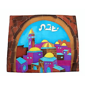 Emanuel Painted Silk Challah Cover - Jerusalem Gate in Color