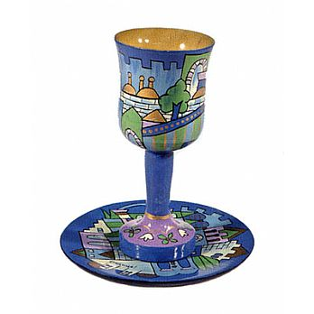 Carved Wood Kiddush Cup & Saucer - Jerusalem Blues