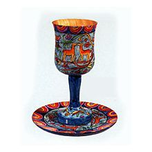 Wooden Kiddush Cup & Tray  by Emanuel - Oriental Design