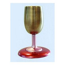 Modern Steel Cup & Coaster - Gold/Pink/Red