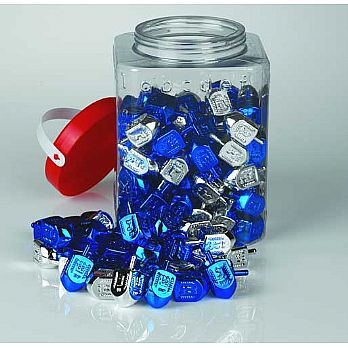 Blue/Silver Medium Plastic Dreidels - 100 Pack