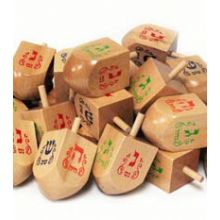 Jumbo Natural Wood 3'' Dreidels - 25 Pack